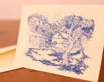 FREE SHIPPING Valley Green Inn Blank Note Card with Envelope, Wissahickon Valley, Philadelphia, Screen Printed Stationary Illustration