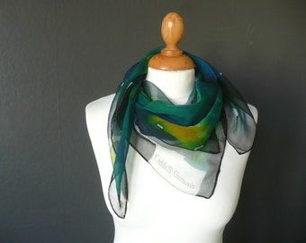 Vintage French scarf - French chiffon scarf - Odile St Germain green chiffon scarf - green blue and yellow chiffon scarf - chiffon scarf