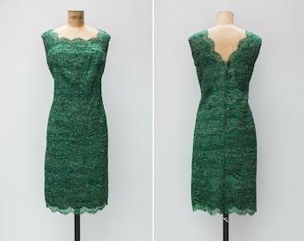 1960s Dress - Vintage 60s Green Lace Dress - Solo Dancer Dress