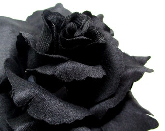 "3.75"" Black Silk Rose Heads (Pack of 4) - Fabric - Artificial Flower, Wholesale Lot, Wedding Decoration"