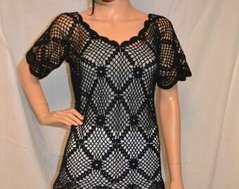 Dark Night Custom Made Cotton Size Hand Crocheted Shirt - Sizes 0 to 20