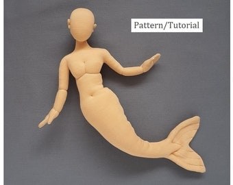 Printed pattern 15 inch Mermaid blank cloth doll body mannequin 38 cm. Posable little mermaid doll soft sculpture. One quarter scale.