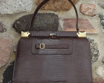 Vintage Purse Brown Imitation Crocodile By Natualizer 1960's - 1970's Fashion