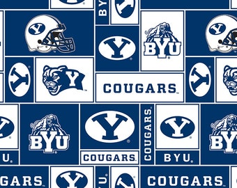 Licensed NCAA Brigham Young University Block Fleece Fabric 60'' Wide Sold By The Yard