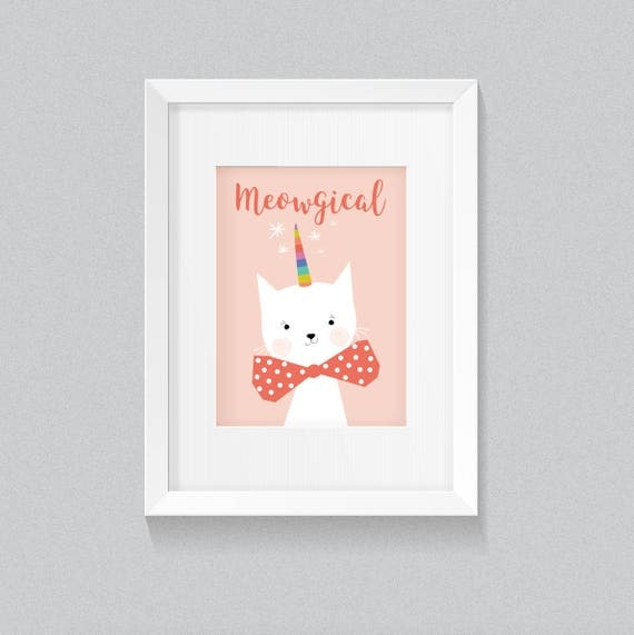 Meowgical Adorable Cute White Cat Kitten Kitty Unikitty Unicat kittycorn Animal with Background Print - Digital Instant Download