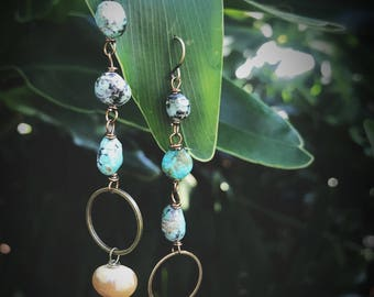 Turquoise earrings, Mother's Day gift, boho jewelry, unique jewelry, funky earrings, rustic earrings, bohemian jewelry