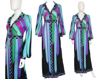 Emilio Pucci 1960s Vintage Evening Gown Maxi Dress Silk Purple Blue Green US Size 6 Small