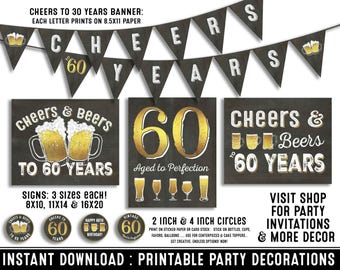 60th birthday party decorations - 60th birthday party for him - Cheers to 60 years - Cheers & Beers - Instant download party decor for her