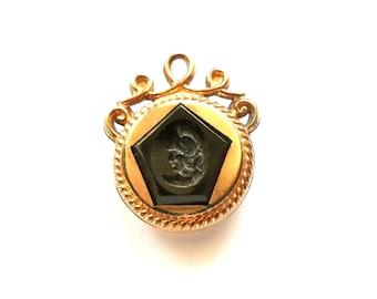 Antique Victorian Watch Fob Charm Double Sided Carnelian, Black Onyx circa 1900