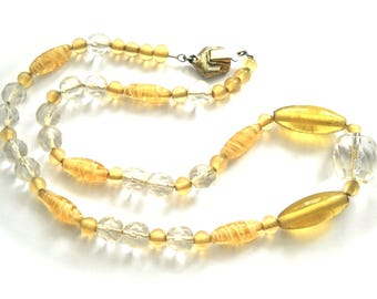 Vintage GLASS BEADS NECKLACE Golden Yellow & Faceted Clear Glass Circa 1950
