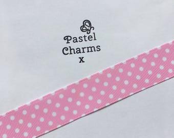 Candy pink pokadot ribbon x  2 yards 23mm wide x
