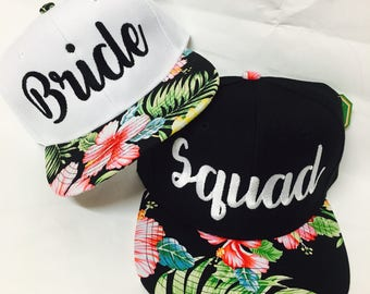 Custom Bride and Squad Snapback Combo Hawaiian Floral Hibiscus Multicolor and Black Snap Back. Wedding Present. Bachelorette or bridal party