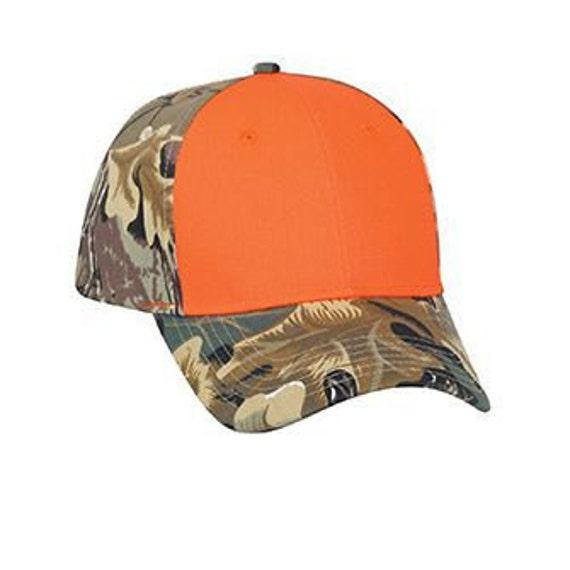 fc1b9177 Custom Camo Embroidery Hats Ornage and Woodland Leafy .