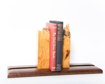 Michael Elkan Studio Burl and Walnut Bookends Sliding Adjustable Book Holder