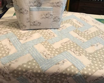 Elephant Grey and Blue Baby Boy Quilt and Diaper Bag Matching Set