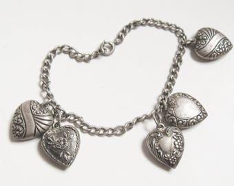 "VICTORIAN REVIVAL Vintage Sterling Silver Nouveau Repousse Puffy HEART Link Charm Bracelet 7"" Edwardian Downton Deco Gatsby Era Jewelry"