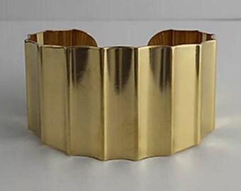 "1 Brass Cuff Tapered, 1 1/2"" wide, Wide Cuff, Bracelet, Bangle, Raw Brass"
