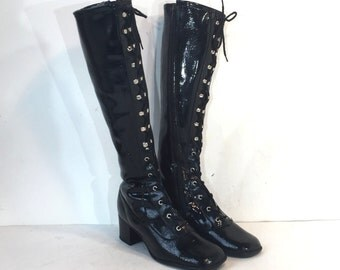 1960s black vinyl lace-up gogo boots - lace up boots - size 5.5 - gladiator boots - mod boots - vintage go go boots