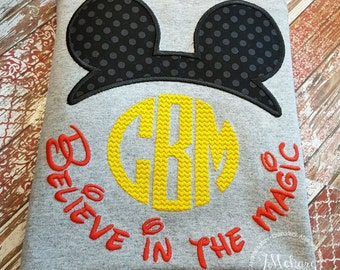 Boy Mouse Believe in the Magic Inspired Ears Monogram Phrase - Custom Tee 2038