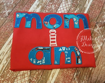 Cat in the Hat inspired Mom's Shirt Birthday Applique Shirt - Custom Tee Personalized 43a