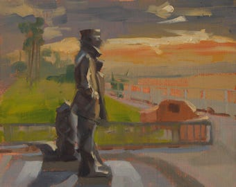 Sailor - Long Beach - Statue - Plein Air - Oil Painting - Landmark - Bluff Park - Navy - Stanley Bleifeld - Pearl Harbor - California - Sea