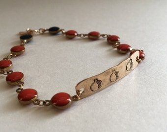Beaded ID bracelet - Pomegranate Bracelet - Pomegranate - ID bracelet - armenian - armenian symbol