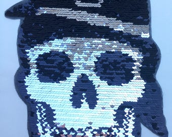 NEW Skull Pirate Sew On Sequin Appliqué Patch Motif Reversible