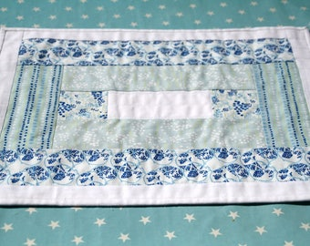 Placemat white and blue, cotton, tea time