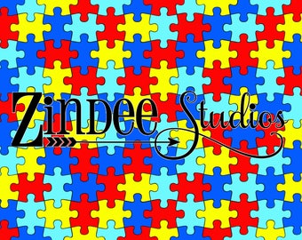 Autism Puzzle piece printed vinyl adhesive vinyl or heat transfer vinyl, pattern heat transfer, printed HTV or ADHESIVE lily Mermaid mint