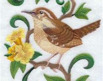 South Carolina State Bird Carolina Wren Embroidered Towel   Flour Sack Towel     Dish Towel   Kitchen Towel   Hand Towel