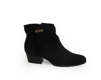 Sale Black suede boots, Black low Heel Boots, Boho boots, Low Heels  Booties, Tassel boots, Womens boots, Ankle zip boots, Boho Booties