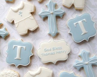 Elegant Baby Boy Baptismal Cookies - One Dozen (12) Blue and White Decorated Sugar Cookies