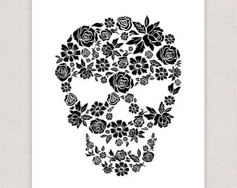 Flower Skull Art Print - Hand Drawn Illustration Poster
