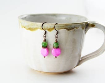 Brightly Colored Copper Earrings with Lime Green Stones and Hot Pink Shells