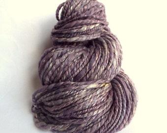 Handspun chunky wool, handspun merino and soybean yarn, bulky / chunky yarn knitting yarn / wool. lilac, lavender yarn