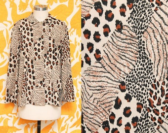 Animal Print Blouse // Faux Suede Top // 80s 90s Harve Bernard Cheetah Collared Button Down Shirt Mismatch Pattern Chic Size 10 Small Medium