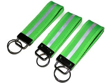 Neon Green/ Lime Green reflective ribbon key fobs.  Key chains, Key fobs, Key Wristlets, Key Keepers.  Reflective Construction key chain