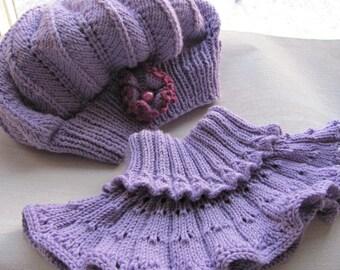 SET Neck warmer hat Purple Merino Set