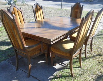 fabulous gothic style dining set huge refectory table with leaf 6 chairs all original church heavy - Stanley Furniture Dining Room Set
