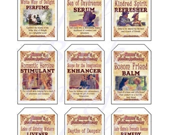 Fantasy Potion Labels -- Anne of Green Gables; GIFT TAGS (2 x 3 inches)