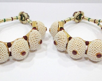Vintage antique 925 sterling silver & Gold vermeil Beads Bracelet or Bangle pair