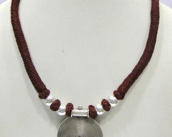 Vintage Antique Tribal Old Silver Necklace Pendant India