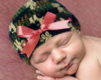 BABY GIRL CAMO, Baby Camouflage, Camo Coral Ribbon, Baby Camo Clothes, Baby Girl Camouflage, Knit Camo, Camoflage Camo, Baby Camo Crochet