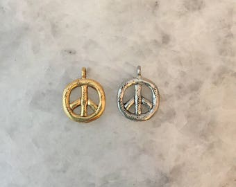 Peace Sign Charm, Gold or Silver, 2 Sided, Round, Pewter, Charm, 24k Plate