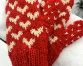 Kids Wool Heart Mittens, Double Knit Red and White Heart Pattern Girls' Valentine's Day Gift, Holiday Mittens