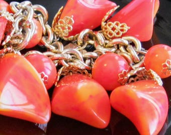 Tequila Sunrise Bakelite Vintage Cha Cha Charm Bracelet - MCM Mod Atomic Space Age Shaped Beads w Vibrant Orange Red Color - Gold Filigree
