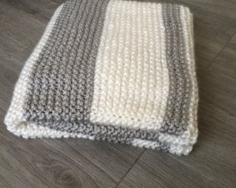 Hand Knit Baby Blanket-Neutral Colors