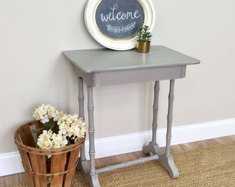 Gray End Table - Antique Side Table - Country Cottage Furniture - Small Bedside Table - Nightstand Table - Painted Nightstand