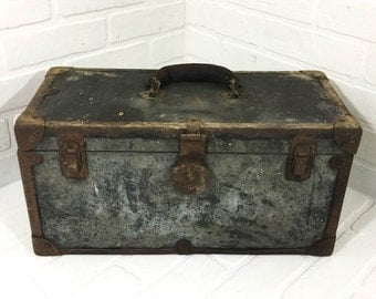 Vintage R H Buhrke Co Metal Clad Mechanics Tool Box Storage Case Trunk