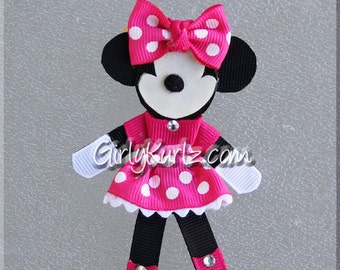 HOT PINK Minnie Mouse Hair Clip, Minnie Hair Bow, Minnie Hair Clip, Ribbon Sculpture, Disney Hair Clip
